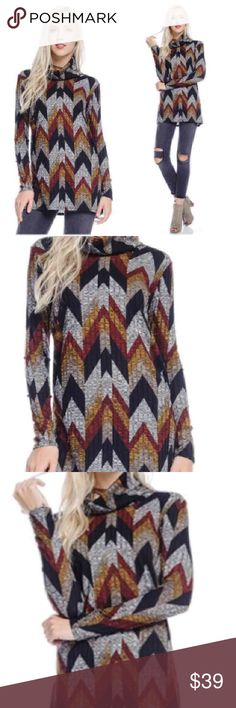 """Stylish Geometrical ribbed print tunic. Large. Stunning Geometrical print ribbed knit turtle neck tunic with size slits.  Bust measures at 36"""" unstretched.  Length is 30"""" Material is 85 poly, 10 rayon 5 spandex.  Size large.  Colors include black, gray, mustard and red. Boutique No tag straight from vendor. Tops Tunics"""
