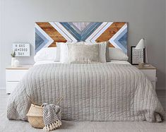 Geometric wood headboard made of reclaimed pinewood. Each piece is treated with care during the prod Reclaimed Wood Headboard, Reclaimed Wood Wall Art, Wood Art, Painted Wood Headboard, Winter Bedroom, Wood Projects That Sell, Wood Mosaic, Geometric Wall Art, Suites