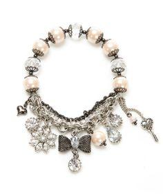 Mesh bow & pearl bracelet - $55.00 at betseyjohnson.com
