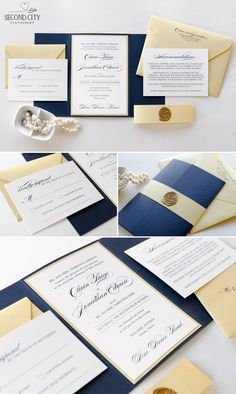 Navy Blue, Gold Shimmer, and Ivory Wedding Invitation with Gatefold Enclosure, Belly Band, and Gold Wax Seal - by Second City Stationery