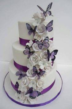 White Rose n Butterfly Cake