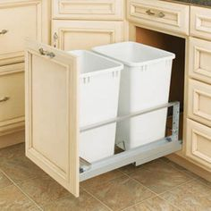 Rev-A-Shelf Double Soft Close Pull Out 35 qt. Trash Can White Polymer - 5349-18DM-2