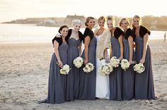 Bridesmaids in gray @Bill Levkoff gowns and Black Faux Fur Shrugs from @Alexbridal. Winter Wedding @Belle Mer in Rhode Island!