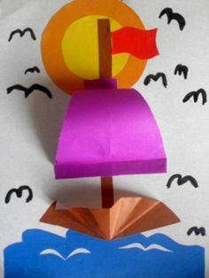 Шаблоны аппликации кораблики из цветной бумаги для детей Sea Crafts, Diy And Crafts, Arts And Crafts, Projects For Kids, Diy For Kids, Crafts For Kids, Toddler Crafts, Preschool Crafts, Art Plastic