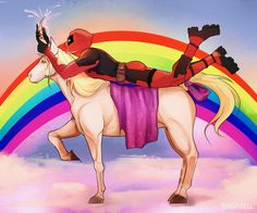 Please let this be real. Deadpool Unicorn, Deadpool X Spiderman, Deadpool Funny, Marvel Vs, Marvel Dc Comics, Otaku, Dc Movies, Spideypool, Film Serie