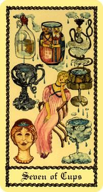 Seven of Cups card from the Medieval Scapini Tarot Deck Medieval, Seven Of Cups, Dreams And Visions, Tarot Card Meanings, Creative Visualization, Child Love, Tarot Reading, Tarot Decks, Illusions