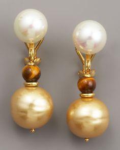 Majorica  Pearl & Tiger's Eye Drop Earrings