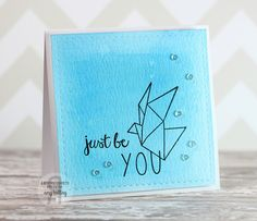 Card by Amy Kolling. Reverse Confetti stamp set: Paper Crane and All About You. Friendship card. Encouragement card. Autism Awareness. #LIUB