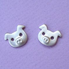 Pig Earrings Studs in sterling silver by zoozjewelry on Etsy, $30.00
