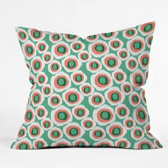 Raven Jumpo Ikat Circles Mint Outdoor Throw Pillow