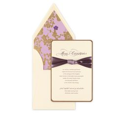 This card consists of two layers; a gold base layer and a cream top layer in which all customization occurs. A preset purple ribbon comes attached to this card. When customizing please note that only one ink color may be used for your personalization. This card includes cream french envelopes. The impressive presentation of a french flap envelope requires extra postage when addressed vertically. Price $740.00