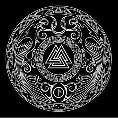 Valknut was one of the most sacred symbols in Norse mythology and Viking belief. Valknut symbol was known as the Heart of the Slain. Valknut was actually the symbol of Odin the Allfather who was also known as the nonstop seeker af Slavic Tattoo, Norse Tattoo, Celtic Tattoos, Viking Tattoos, Wiccan Tattoos, Inca Tattoo, Indian Tattoos, Norse Mythology Tattoo, Viking Designs