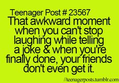 Or they get it, but they don't find it as funny as you did, and then you feel kinda awkward.