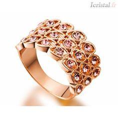 Bague en alliage plaqué or rose et strass violet&amp Crystal Ring, Violet, Plaque, Or Rose, Gemstone Rings, Gemstones, Crystals, Bracelets, Gold