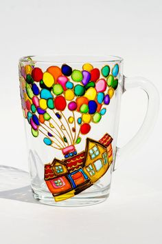 This coffee mug is inspired by the movie, UP! On the cup you can see house with colorful balloons. Please NOTE that ane text can be added for FREE. For