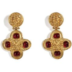 CHANEL VINTAGE JEWELRY Golden ´94 Roman Gripoix Ear Clips - vintage - style - classic - luxury - antique - amazing - beautiful - classy