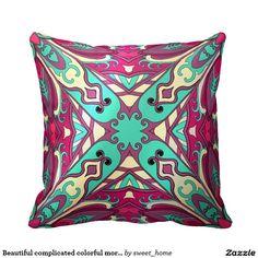 Beautiful complicated colorful moroccan ornament. throw pillow make interior unique and add aesthetics sense. Ornament create in oriental tradition. #Home #decor #Room #Interior #decorating #Idea #Styles