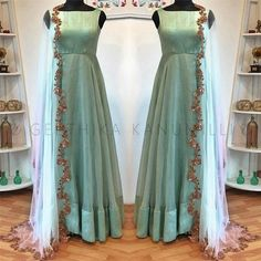 Look 21 . Stunning ice blue color floor length anarkali dress and net dupatta with lata design hand embroidery cut work. Kurti Designs Party Wear, Lehenga Designs, Saree Blouse Designs, Long Gown Dress, The Dress, Indian Wedding Outfits, Indian Outfits, Indian Designer Outfits, Designer Dresses