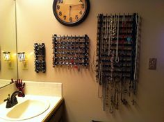 "Great idea my girlfriend came up with.  Went to fabric store and bought the thread holder racks that have like dowel rods in rows.  She painted it up all pretty and hung her jewelry on all the dowel ""hooks"".  Looks fantastic!"