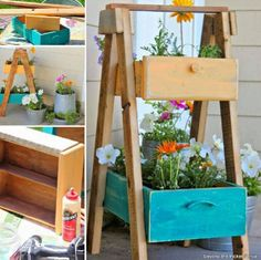 Repurpose old drawers into gorgeous Planters.  Check out all the whole collection and the Tire Planter Upcycle too!