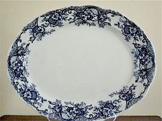 Antique English blue and white 19 inch meat platter, Wild Rose pattern