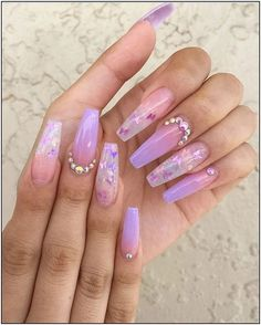 If you want cute ombre nails that suit summertime in 2019 then check our cherry-picked ombre acrylic nails between purple, blue, yellow, and pink ombre nails. Purple Ombre Nails, Purple Acrylic Nails, Summer Acrylic Nails, Best Acrylic Nails, Summer Nails, Acrylic Nail Designs For Summer, Acrylic Nails Coffin Ombre, Purple Nails With Glitter, Ombre Nail Art