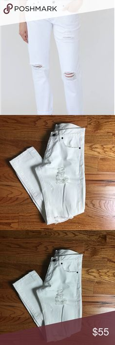 Sincerely Jules White Echo Boyfriend Jeans NWT New with tags white Boyfriend Jeans by Sincerely Jules. Distressed white denim. Sincerely Jules Jeans Boyfriend