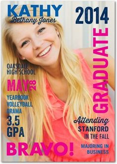 Make your graduate the cover model with this 'Vivid Vogue' Graduation Announcement by Jill Smith in a vibrant Fuchsia Pink. #graduation