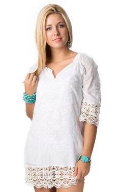 RU Cowgirl Women's Shelby White Crochet Lace and Embroidery 3/4 Sleeve Dress