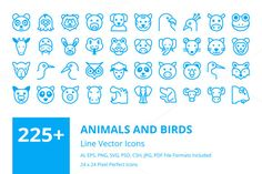 225+ Animals and Birds Line Icons  by Creative Stall on @creativemarket