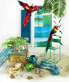 Sogni nei Caraibi: reti da pesca, anfore, sabbia dorata, stelle e conchiglie, pesci tropicali. (Caraibic dreams)