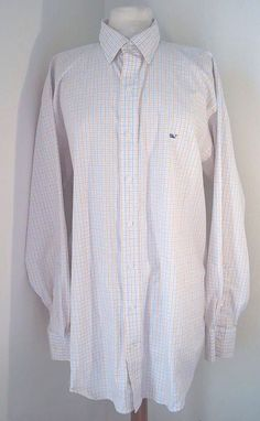 Vineyard Vines Mens Button Front Whale White Blue Orange Plaid Shirt Size: L #vineyardvines #ButtonFront