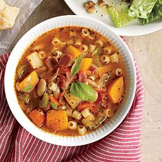 Root Vegetable Minestrone with Bacon Recipe | CookingLight.com #myplate, #protein, #veggies