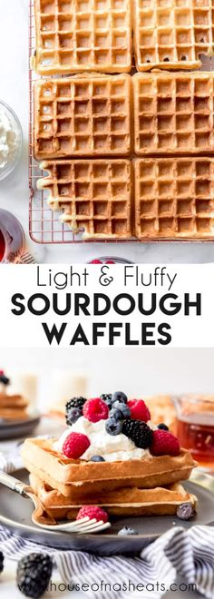 These fluffy-crisp Sourdough Waffles have the most amazing flavor and texture and are made with your sourdough discard so nothing goes to waste! Sourdough Waffle Recipe, Sourdough Bread Starter, Sourdough Recipes, Bread Recipes, Best Breakfast Recipes, Breakfast Dishes, Brunch Recipes, Chicken And Waffles, Pancakes And Waffles