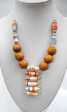 Paper bead Ladder stitch necklace -Tutorial