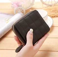 Fashion Women Short Wallets PU Leather Female Plaid Purses Nubuck Card Holder Wallet Woman Small Zipper Wallet With Coin Purse