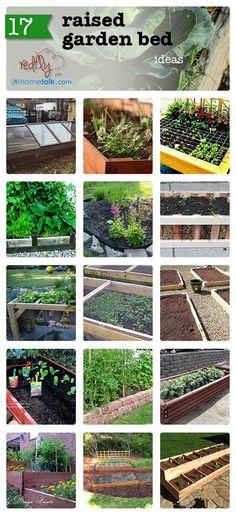 17 Raised Garden Bed Ideas from Redfly Creations. Farm Gardens, Outdoor Gardens, Raised Garden Beds, Raised Beds, Raised Gardens, Edible Garden, Garden Spaces, Dream Garden, Garden Planning