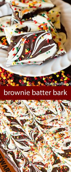 If you like brownie batter, whip up this quick chocolate and white chocolate brownie batter bark. No bake and just 3 ingredients for an easy homemade candy. Use festive sprinkles for any holiday.