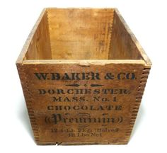 WALTER BAKER & CO LTD DORCHESTER MA EARLY 20TH C VINT PREMIUM CHOCOLATE WOOD BOX #WalterBakerCoPremiumChocolate Vintage Wooden Crates, Wood Crates, Wood Boxes, Baker And Co, Wooden Shipping Crates, Bakers Chocolate, Walter Baker, Print Ads, Cocoa