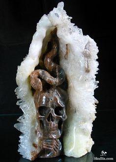 Druse Quartz Rock Crystal Skull and Snake