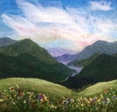 Felted Artwork-Original felted landscapes by Tracey McCracken Palmer. Wet felting and needle felting techniques are used to create beautiful works of art. Wet Felting, Needle Felting Kits, Needle Felting Tutorials, Needle Felted, Felted Wool, Landscape Art Quilts, Felt Pictures, Wool Art, Felt Hearts
