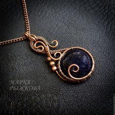 Купить Кулон с авантюрином - тёмно-синий, авантюрин, медь, кулон, wire wrap, медь, авантюрин