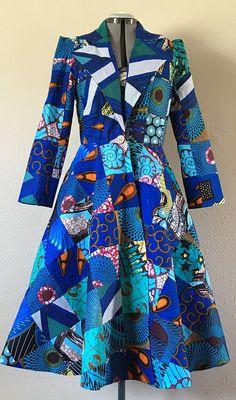 Patchwork imprimé africain Blues Manteau robe avec poches
