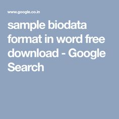 Bio Data     Download