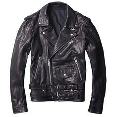 a2107e11fdc HARLEY DAMSON Black Men Oblique Zipper Slim Fit Biker Leather Jacket Plus  Size XXXL Short Sheepskin Motorcycle Leather Coat. Yesterday s price  US   399.99 ...