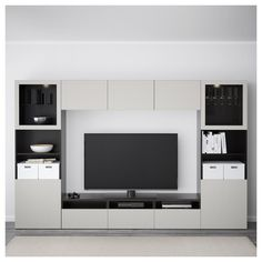 IKEA - BESTÅ TV storage combination/glass doors walnut effect light At Home Furniture Store, Modern Home Furniture, Affordable Furniture, Tv Wanddekor, Rack Tv, Living Room Tv Unit Designs, Tv Wall Decor, Tv Storage, Home Furnishings