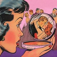 Gotta watch out for them redheads. #Popart #Vintage #Retro #Art #Artist #Artwork #Vintagepopart #Fifties #Sixties #Compact #Makeup #Redhead #Ginger #Boyfriendstealer #Heartbreak #Love #Truelove #Suavecita