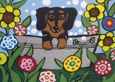 Dachshund in the Washtub Dog Puppy Hotdog Bath Time Weiner Dog ACEO ATC Animal Pop Art Print Poster Art Ellison