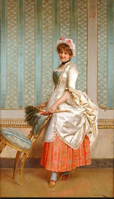 Untitled by Frederic Soulacroix (circa 1900) France.  A French maid, complete with apron and mop cap