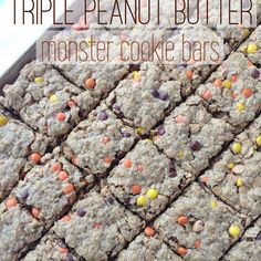 (no flour!) Triple Peanut Butter Monster Cookie Bars Recipe Desserts with brown sugar, granulated sugar, salted butter, creamy peanut butter, large eggs, vanilla extract, quick oats, old-fashioned oats, baking soda, peanut butter chips